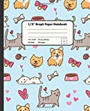 1/2' Graph Paper Notebook: Cute Kittens and Puppies On Blue Background 1/2 Inch Square Graph Paper Notebook For Math And Drawing | 7.5' x 9.25' Graph ... for Girls Kids Teens Students for Home School