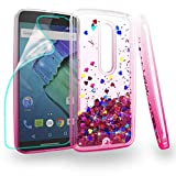 Zingcon Compatible for Moto X Style Phone Case,XT1570,X Pure Edition Quicksand Case,with HD Screen Protector,Shockproof Hybrid Hard PC Soft TPU Bling Adorable Shine Protective Cover-Clear/Rose-red