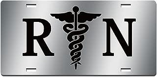JASS GRAPHIX Black RN Nurse Mirror License Plate Medical Car Tag with Caduceus