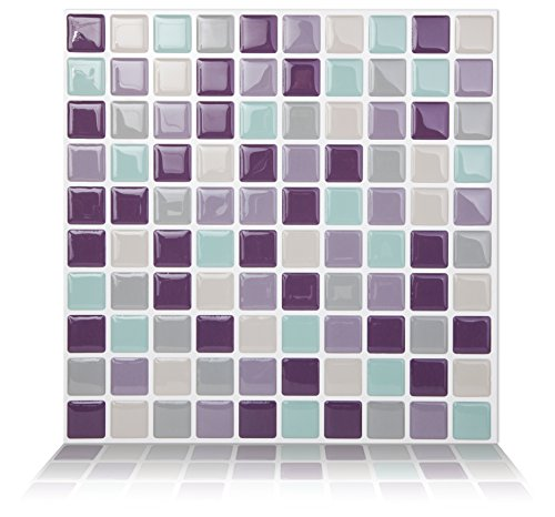 Tic Tac Tiles Peel and Stick Self Adhesive Removable Stick On Kitchen Backsplash Bathroom 3D Wall Tiles in Square Design (Violetmint, 10)
