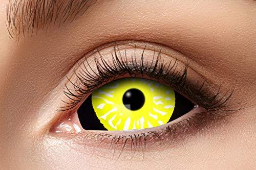 Eyecatcher 84091541.s15 - Farbige Sclera Kontaktlinsen, Schwarz & Gelb, Farblinsen, 6 Monate, weiche Linsen, ohne Sehstärke, 2 Stück, Motivlinsen, Halloween, Karneval, Fasching