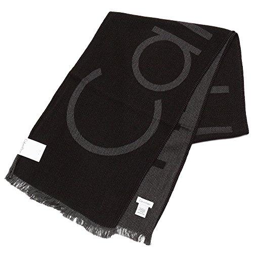 Calvin Klein(カルバンクライン)ブランドロゴマフラー/eck17w105(HKC73621:001 ブラック)