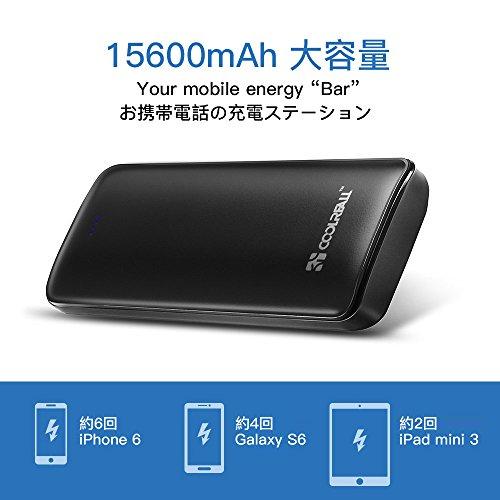 Externer Akku, Coolreall 15600mAh Powerbank, Zusatzakku, Ladegerät mit Dual USB Ausgang, Portable Energiebank für iPhone 6/5/4, iPad, iPod (Schwarz)