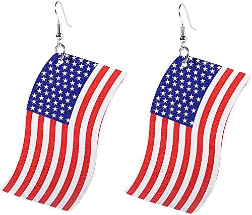 Elxf Pendientes de piel sintética con purpurina con estampado de rayas y estrellas de bandera americana
