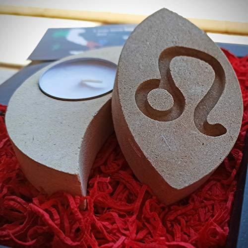 Löwe Sternzeichen Teelicht Kerzenhalter aus Stein - Handgemacht in Italien - Box, Teelicht Kerze und Nachrichtenkarte enthalten - Geschenkidee Geburtstag Juli August - Sternzeichen Feuer