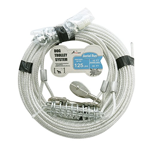 Petest 60ft Trolley Runner Cable for Heavy Dogs Up to 125 Pounds