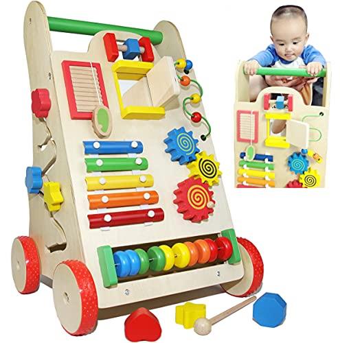 Cochecito de madera para andar estable juguete para niños; andador de madera con motricidad para niños y niñas, regalo sostenible para aprender