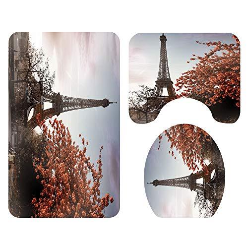 Tapis de salle de bains DAMAI MAGASIN Tapis de sol motif tour Paris Siège de toilette for salle de bains Tapis trois pièces L