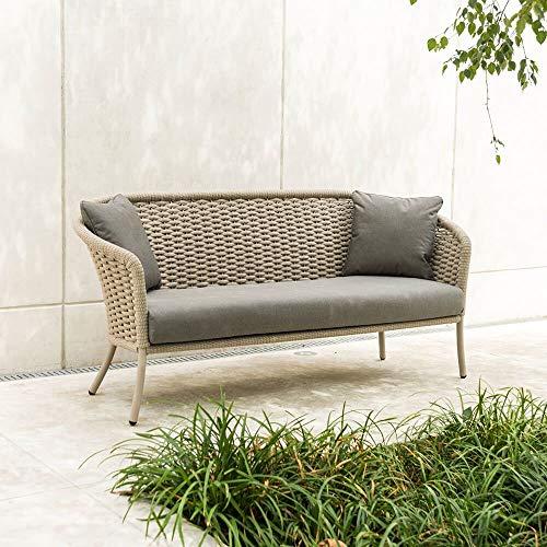 Austen - Sofá de jardín de 3 plazas de aluminio y cuerda para exteriores, color gris