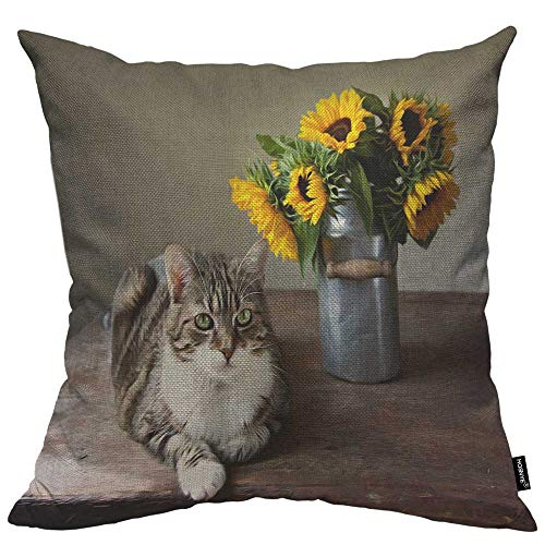 HOSNYE Cat and Sunflowers Throw Pillow Case Cushion Covers Still-Life Oil Painting Style Cotton Linen for Couch Bed Sofa Car Waist 18 x 18 inch