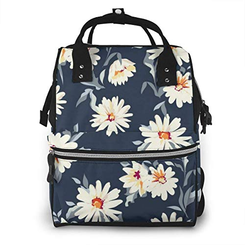 Casual Travel Daypack White Daisy Bookbag for Women and Men Lightweight Packable Backpack Diaper Bag Backpack,Large Capacity,Multipurpose,Stylish and Durable
