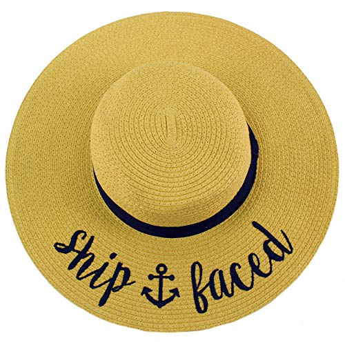 Fun Verbiage Elegant Wide Brim 4' Summer Derby Beach Pool Floppy Dress Sun Hat Natural (Ship Faced)