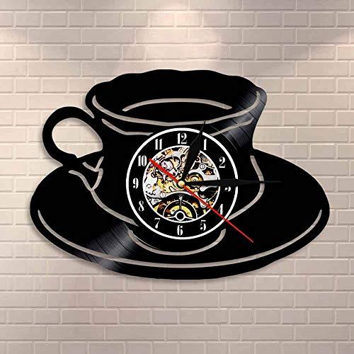 wtnhz LED Reloj de Pared de Vinilo Colorido Reloj de cafetería una Taza de té Reloj de Pared Cocina Oficina decoración de la Pared Disco de Vinilo Arte de la Pared Reloj de Pared Moderno Amantes d