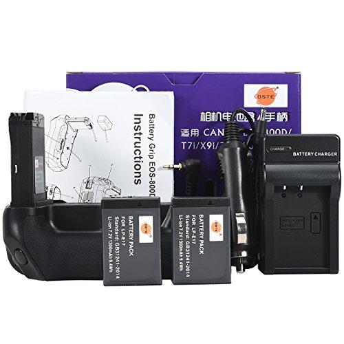 DSTE EOS-800D - Empuñadura de Batería Compatible con Canon EOS 800D T7i X9i 77D 9000D (2 Baterías LP-E17 y Cargador USB)