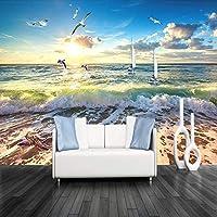 ranyan 写真壁紙3D立体エンボスビーチ海の波壁画リビングルームレストランカフェポスター装飾壁紙-300x210cm