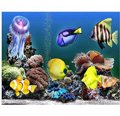 5D DIY diamantschilderij, kruissteek, landschap, aquarium, diamant, borduurwerk, rond, diamant, mozaïek, decoratie, muurstickers 45x60cm/18x24in