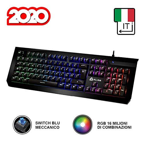 KLIM Domination Tastiera Meccanica ITALIANA RGB - Nuova Versione - Switches Blue - Digitazione...