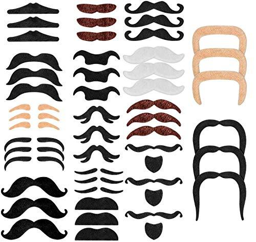 SMATECH Schnurrbart selbstklebend 48 falsche Bärte zum Ankleben Schnauzer Fake Klebebart Oberlippenbart Mustache