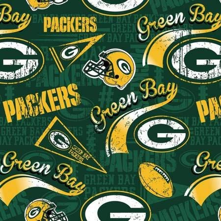 """Green Bay Packers Football Yellow/Green NFL 58"""" Wide 100% Cotton Fabric by The Yard"""