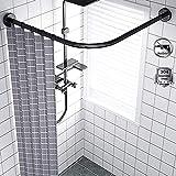 Barra Cortina Ducha Curva Esquina sin Taladro Barra de Cortina Extensible en L de 304 Acero Inoxidable para Baño, Esquina, Ropero, Bañera, Negro