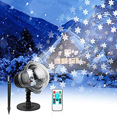 LED Christmas Projector Lights Waterproof Landscape Spotlight Lamp with Remote Control and Base Garden Stake Light for Indoor Outdoor Halloween Wedding Home Party Decor