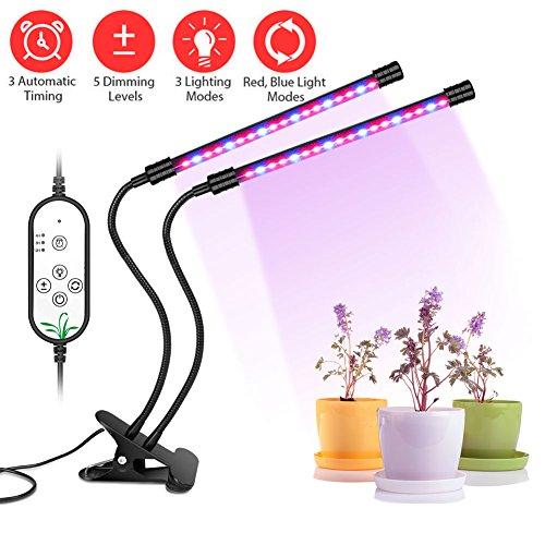 Lamparas para Plantas, LIFU 18W 36LEDs Led Grow Light con 4/8/12H Timer, 5 Brillo e 9 Modos de luz Ajustable IP66 a Prueba de Agua 360°Giratorio LED Lámpara de Crecimiento para Plantas