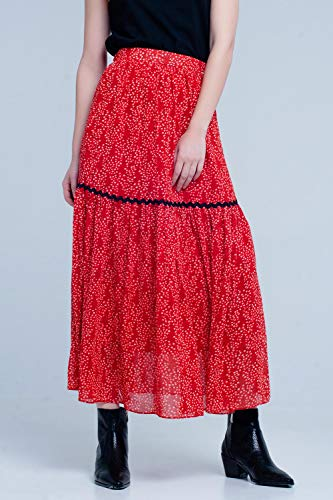 Q2 Falda roja Midi Plisada con Estampado de Lunares, Rojo, M Mujeres