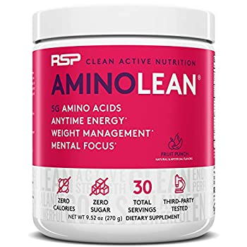 RSP AminoLean - All-in-One Pre Workout Amino Energy Weight Management Supplement with Amino Acids Complete Preworkout Energy for Men & Women Fruit Punch