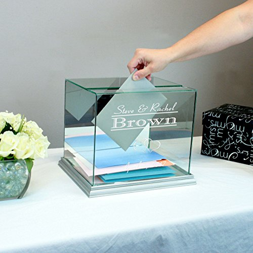 Personalized Glass Rectangle Wedding Card Box Silver