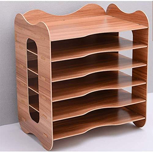 DBSCD Desktop-Aktenhalter Holz-Aktenfach 6-stufiger Schreibtisch, Organizer-Dateien und Ordner Papierstapel-Papierfach (34,2 x 24 x 39 cm), braun