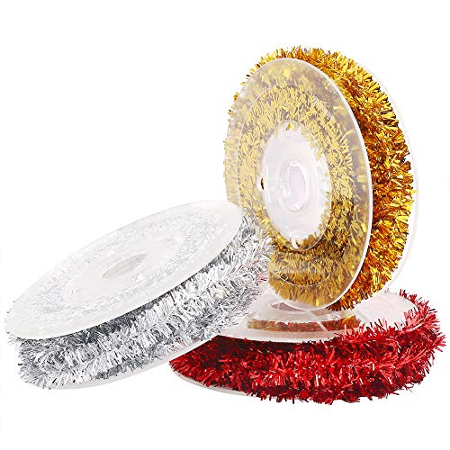 VEYLIN Xmas Tinsel Wire Garland, 3 Pack Christmas Tinsel Ribbon for Holiday Present Wrapping Decoration DIY Craft Supplies (3 Colors)
