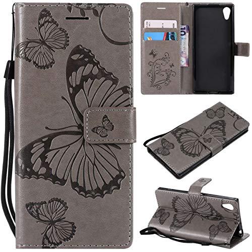 Sangrl PU-Leder Hülle Für Sony Xperia XA1, 3D Butterfly Flip Schale Brieftasche Mit Bracket-Funktion Kartenfächer Wallet Hülle Tasche Für Sony Xperia Z6 - Grau