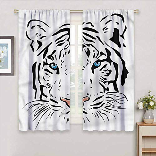 DIMICA All Season Isolierung Tattoo Tiger Ocean Blue Eyes Print Schiebegardinen für Terrassendekoration B 213 x L 213 cm