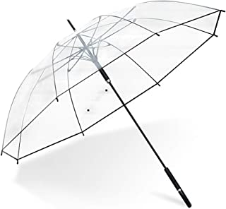 AFQHJ Household Umbrellas, Long Handle Semi-automatic Transparent Umbrellas, Custom Sanding Umbrellas, Rain And Rain Umbrellas (Color : Clear)
