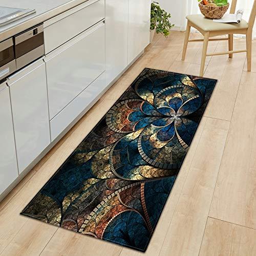 Patrón de Flores 3D Felpudo de Entrada Felpudo de Cocina Alfombra de Cocina Dormitorio Sala de Estar Pasillo Alfombra de Piso Hogar Antideslizante Tapete A8 50x160cm