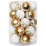 YILEEY Decorazioni Albero di Natale Palline di Plastica Oro e bianco 35 pezzi in 8 tipi, Scatola di Palline di Natale Infrangibili con Gancio, Ornamenti Decorativi Ciondoli Regali