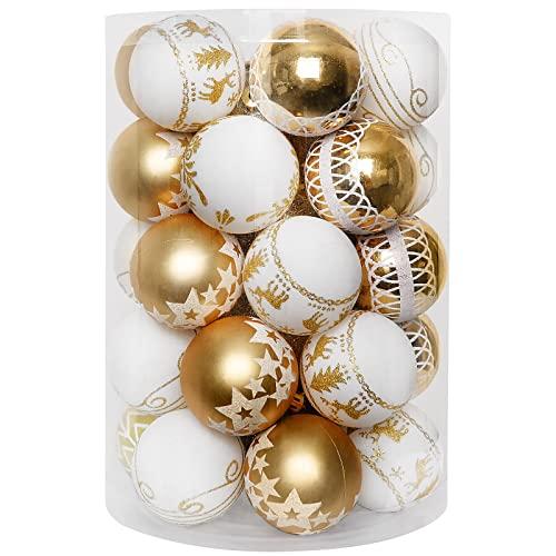 decorazioni natalizie oro e bianco YILEEY Decorazioni Albero di Natale Palline di Plastica Oro e bianco 35 pezzi in 8 tipi