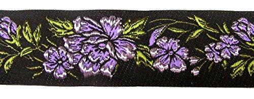 10m RosenBorte Webband 50mm breit Farbe: Violett-Schwarz 50096-viosw