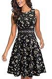 HOMEYEE Vestido de cóctel sin Mangas Bordado de la Vendimia de Las Mujeres UKA079 (EU 38 = Size M, Negro + Floral Amarillo)