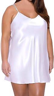 Padaleks Women's Sleepwear Satin Chemise Babydoll Lingerie Nightdress Strap Negligee Nightgown Underwear Plus Size