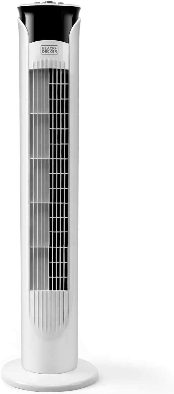 Black + Decker – BXEFT47E Ventilador de torre oscilante silencioso. 81 cm de altura. 3 velocidades. Temporizador 2 horas. Base antideslizante. Asa de transporte. Potente flujo de aire. Blanco.