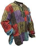SHOPOHOLIC FASHION, Herren-Hippie-Hemd, stonewashed, mit bedruckten Flicken Gr. 58, mehrfarbig