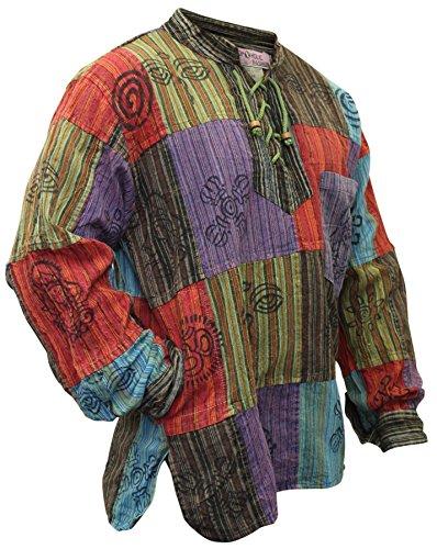 SHOPOHOLIC FASHION, Herren-Hippie-Hemd, stonewashed, mit bedruckten Flicken Gr. XXL, mehrfarbig