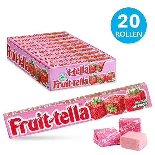 Fruittella aardbei, zachte snoepjes - grootverpakking met 20 rollen: natuurlijke smaken en kleurstoffen, snoepjes met fruitsap