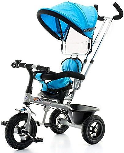 Fahrrad Dreirad Kinderrad Schubstange Dach Kinderfahrrad EB108 (blau)