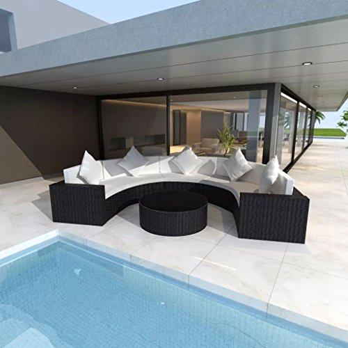 lingjiushopping Set canapé demi-rond de jardin 17 pièces en polyrotin noir matériel : châssis en acier à revêtement poudre + PE rotin + Verre Trempé Lot de meubles d'extérieur