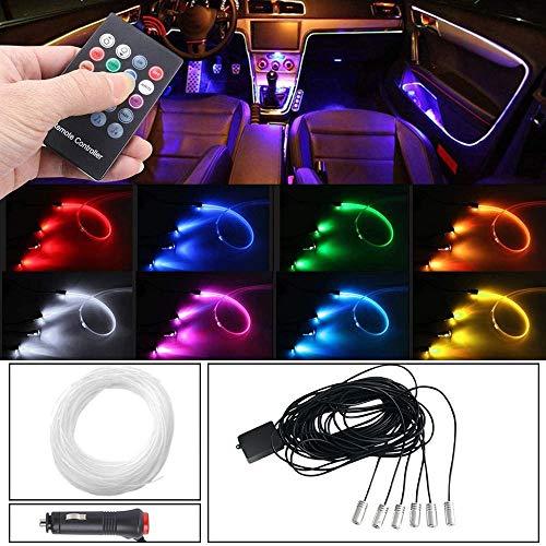 MEROURII Luz LED para interior de coche, RGB de fibra óptica(cable de luz de 6 m)