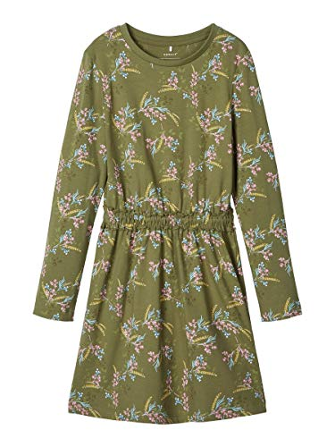 NAME IT Damen Kleid Blumenprint Baumwoll 152Loden Green