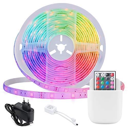 Mafiti LED Strip 5m, LED Streifen 150LEDs, RGB LED Lichterkette 5050 SMD Selbstklebend LED Leiste mit 44 Tasten Fernbedienung, LED Band Für zu Hause, TV, Schlafzimmer, Party, Festival Dekorative.