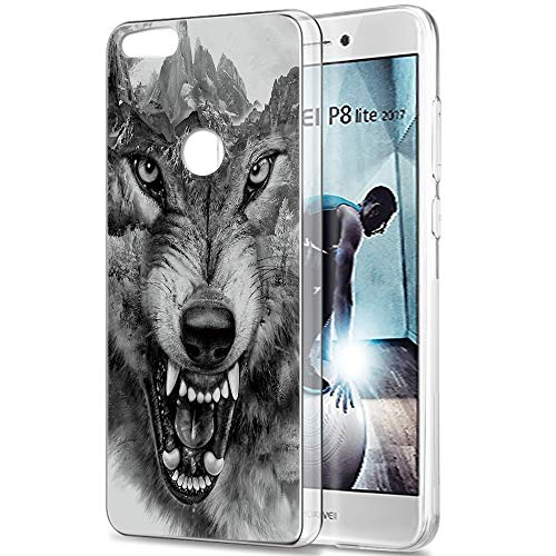 Pnakqil Funda Huawei P8 Lite 2017, Silicona Transparente con Dibujos Diseño Slim Suave Gel TPU Antigolpes Ultrafina de Protector Piel Case Cover Cárcasa Fundas para Huawei P8Lite, Lobo 01